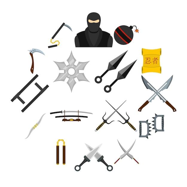Ninja-werkzeugikonen eingestellt in flache art Premium Vektoren