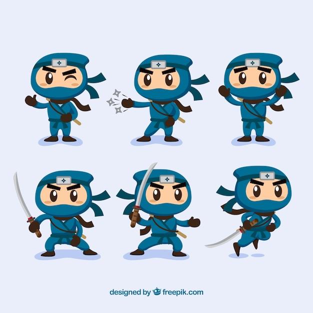 Ninjas charaktersammlung mit verschiedenen posen Kostenlosen Vektoren