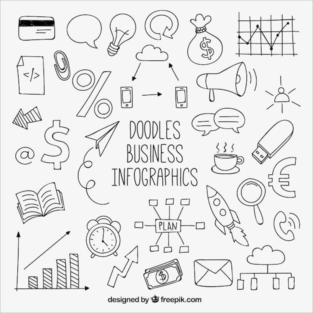 Nizza infografik mit zeichnungen Kostenlosen Vektoren
