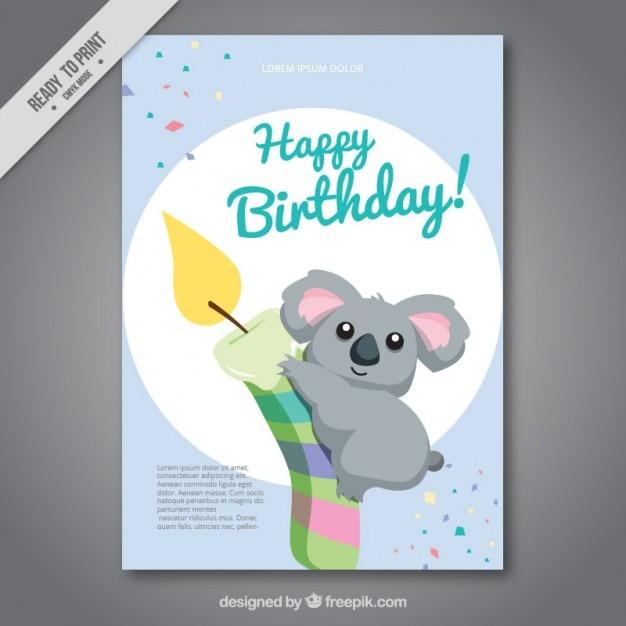 Nizza koala mit einer kerze geburtstagskarte Kostenlosen Vektoren