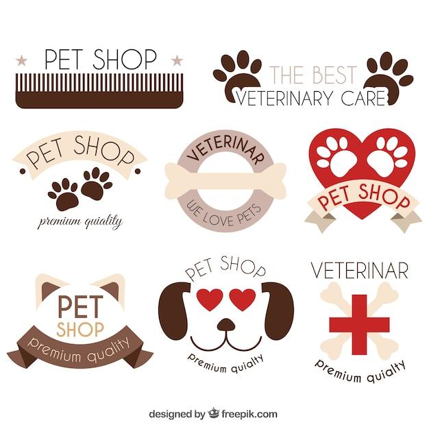 Nizza Packung von Logos mit Tierelementen Kostenlose Vektoren