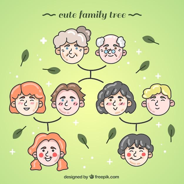 Nizza stammbaum mit mehreren generationen Kostenlosen Vektoren