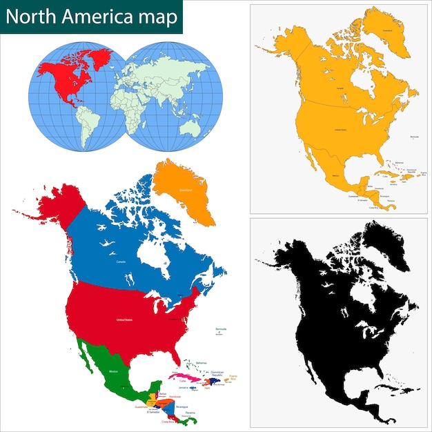 Nordamerika karte Premium Vektoren