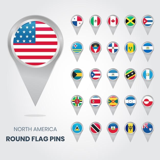 Nordamerika runde fahnen-pins Premium Vektoren