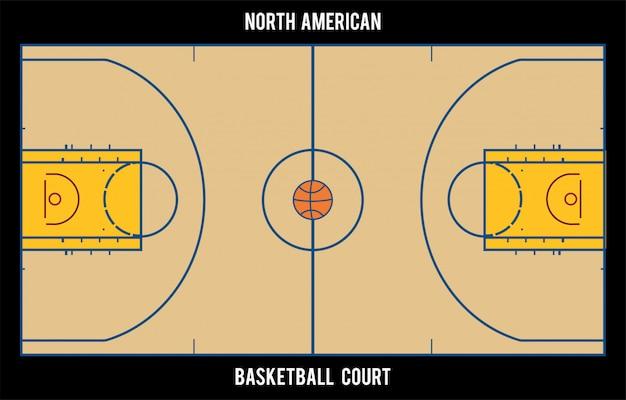 Nordamerikanischer basketballplatz. draufsicht Premium Vektoren
