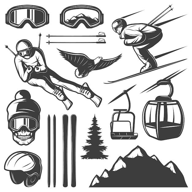 Nordic skiing elements set Kostenlosen Vektoren