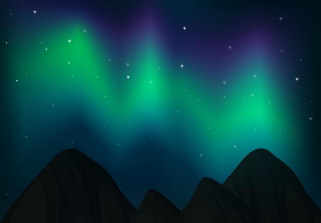 Nordlicht über dem himmel Premium Vektoren