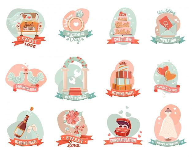 Nostalgische romantische ehe embleme aufkleber set Kostenlosen Vektoren