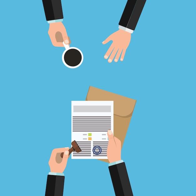 Notar service ausführung von dokumenten siegel und unterschrift Premium Vektoren