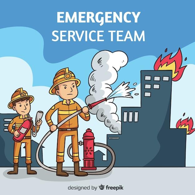 Notdienst-teamhintergrund Kostenlosen Vektoren