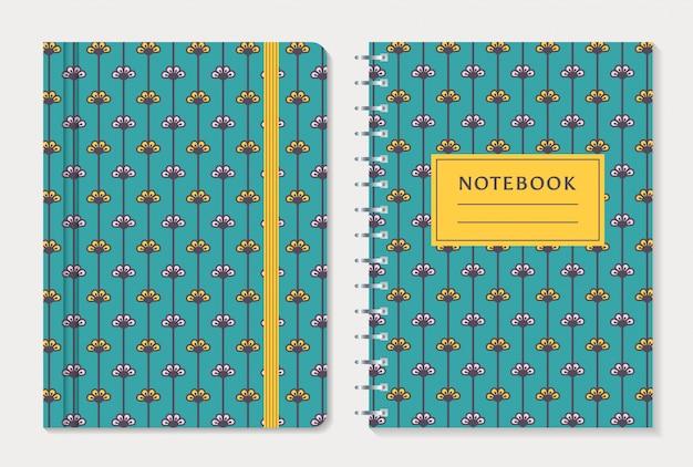 Notebook-cover-design. vektor festgelegt. Premium Vektoren