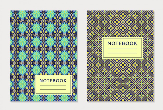 Notebook cover designs festgelegt. Premium Vektoren