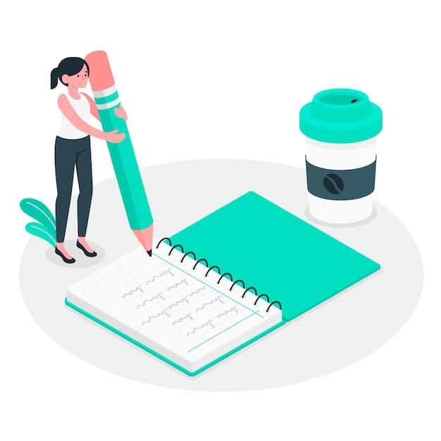 Notebook-konzept illustration Kostenlosen Vektoren