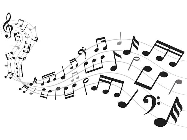 Noten hintergrund. musikanmerkungsblatt, solide melodie und anmerkungssymbolillustration Premium Vektoren