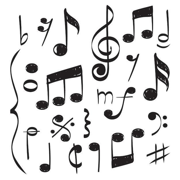 Noten musik. vector hand gezeichneten musikantenstabviolinschlüssel für liedvektorkonzeptbilder Premium Vektoren