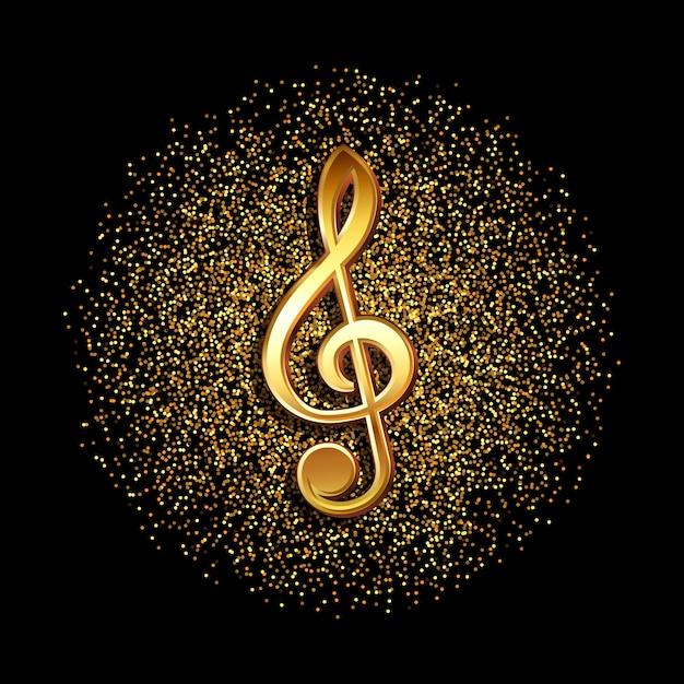 Notenschlüssel-musiksymbol auf einem glitzernden goldenen konfetti-hintergrund Premium Vektoren