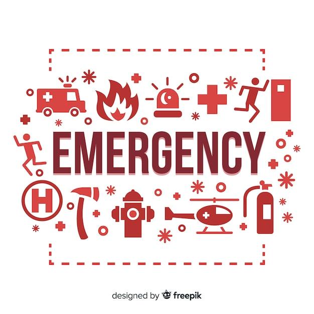 Notfall wort konzept hintergrund Kostenlosen Vektoren