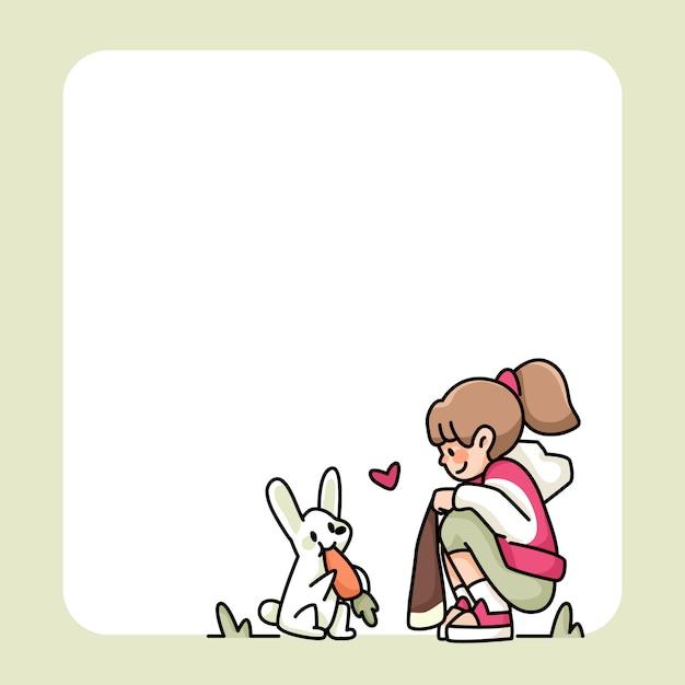 Notizblock süßes mädchen und kaninchen mit karottenentwürfen, um tägliche notizen aufzulisten Premium Vektoren