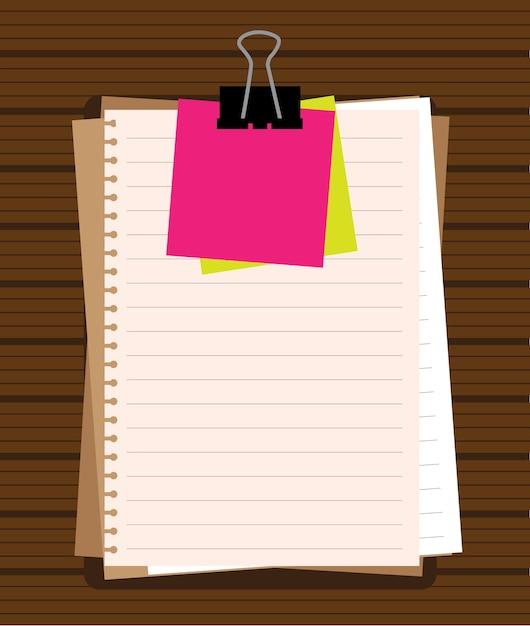 Notizblock und papierblätter lokalisiert auf weißem hintergrund-vektor Premium Vektoren