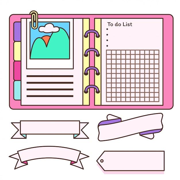Notizbuch mit label schmücken Premium Vektoren