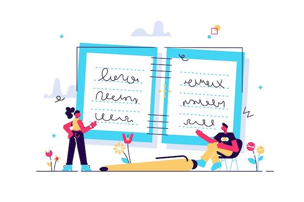 Notizen machen als schreibprozess des studiums im notizbuch Premium Vektoren