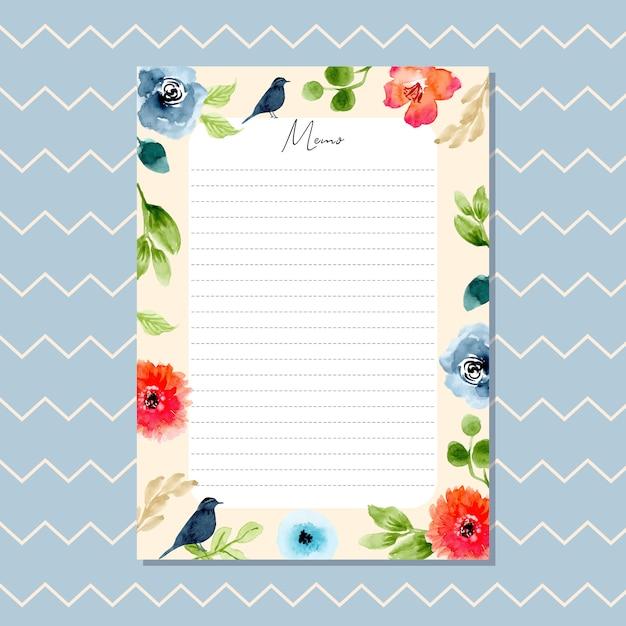 Notizkarte mit blumenmuster des schönen aquarells und zickzackmuster Premium Vektoren