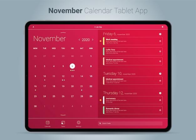 November kalender tablet app-oberfläche Premium Vektoren