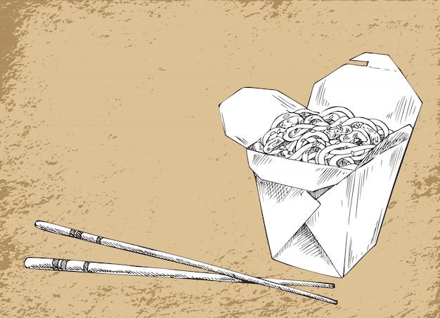 Nudel-asiatische nahrungsmittelvektor-illustration Premium Vektoren