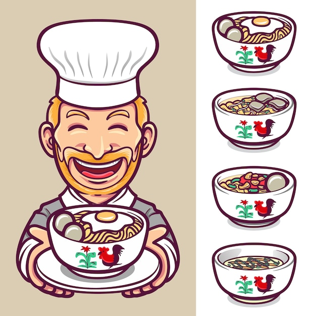 Nudeln food chef charakter label logo set illustration Premium Vektoren