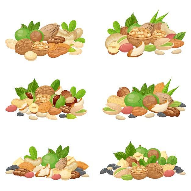 Nüsse haufen. fruchtkerne, getrocknete mandelnuss und kochen von samen lokalisierten satz Premium Vektoren