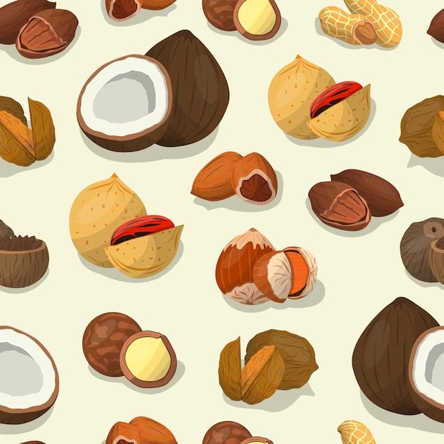 Nüsse und samen bedecken. nussfutter von cashewnüssen und brasilien, haselnüssen und mandeln, Premium Vektoren