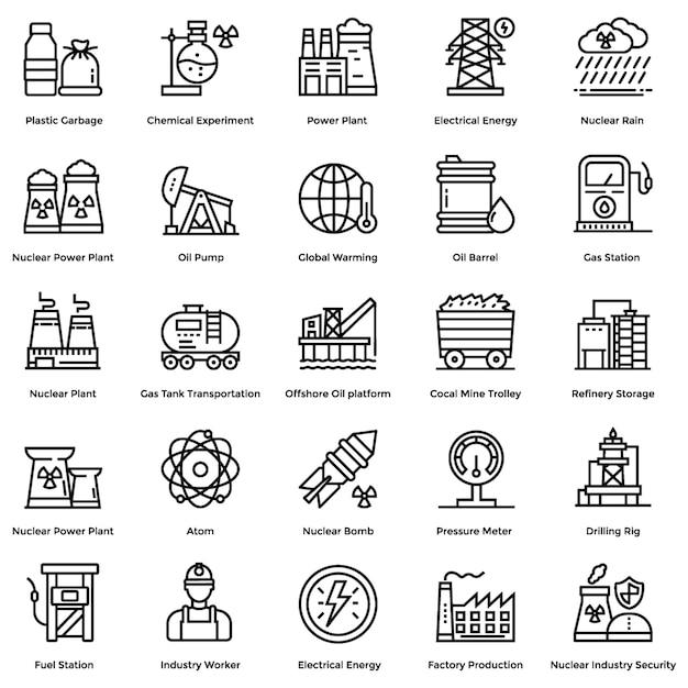 Nukleare elemente linie icons set Premium Vektoren