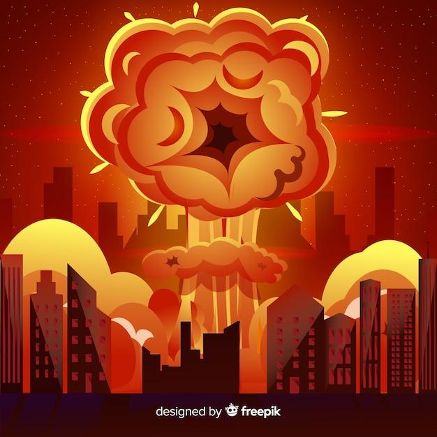 Nukleare explosion in einer stadtkarikaturart Kostenlosen Vektoren