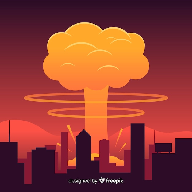 Nukleare explosionseffekt flache bauform Kostenlosen Vektoren