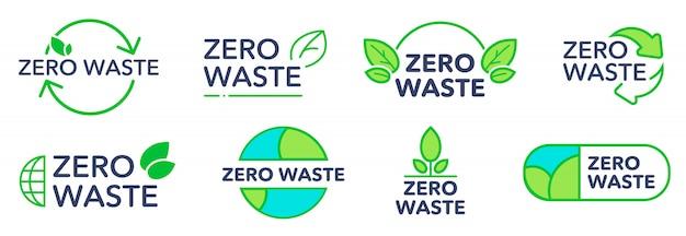 Null abfall umweltfreundliche logos gesetzt Kostenlosen Vektoren