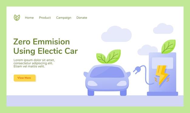 Null emission mit elektroauto leaf plug charge stromkampagne Premium Vektoren