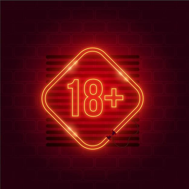 Nummer 18+ im neonstil Kostenlosen Vektoren