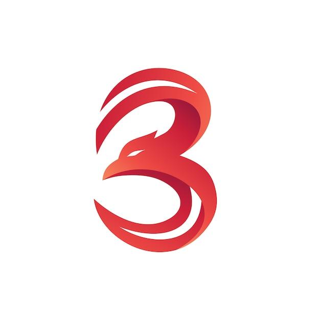 Nummer 3 eagle shape logo vector Premium Vektoren