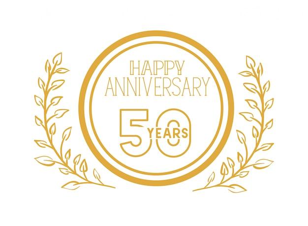 Nummer 50 für jubiläumsfeier emblem oder abzeichen Premium Vektoren