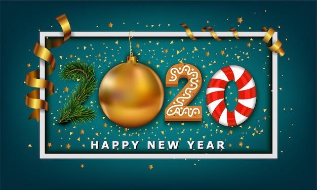 Nummer des guten rutsch ins neue jahr 2020 gemacht vom goldenen weihnachtsballflitter, von den streifenelementen, vom plätzchen, von der süßigkeit und vom weihnachtsbaum Premium Vektoren