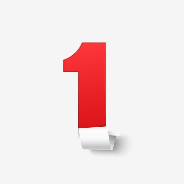 Nummer eins auf weißem hintergrund. abstrakte illustration. Premium Vektoren