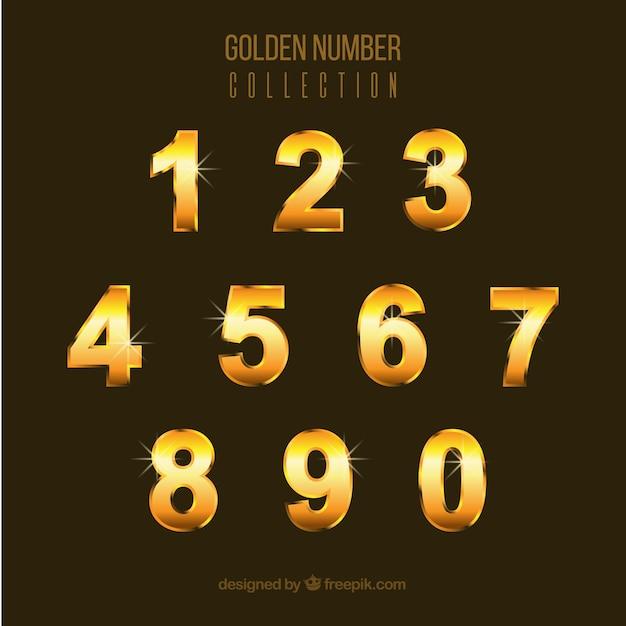 Nummernsammlung mit goldenem stil Kostenlosen Vektoren