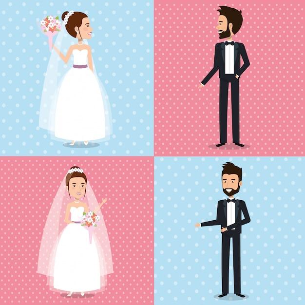 Nur verheiratete paare setzen bilder Kostenlosen Vektoren
