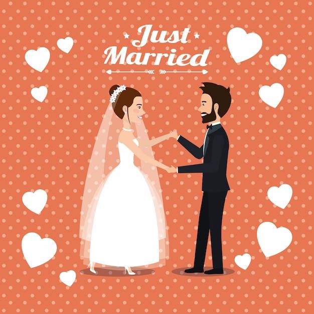 Nur verheiratete paare tanzen avatare Kostenlosen Vektoren