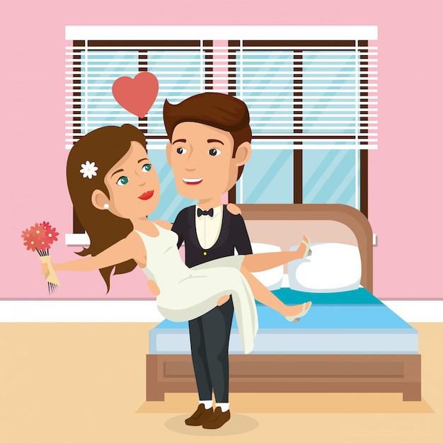 Nur verheiratetes paar im schlafzimmer Kostenlosen Vektoren