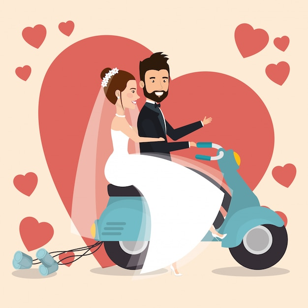 Nur verheiratetes paar in motorrad-avataren Kostenlosen Vektoren