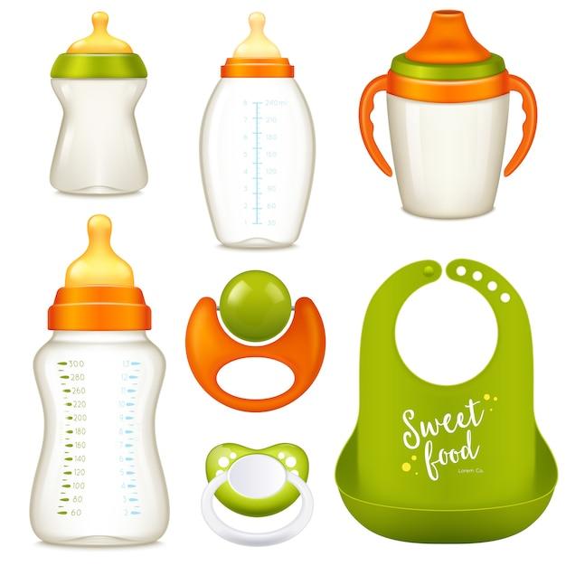 Nurser babyflaschen sammlung Kostenlosen Vektoren