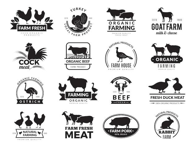 Nutztiere. geschäftslogo mit haustieren kuh huhn ziege gesunde lebensmittel symbole farmsammlung Premium Vektoren