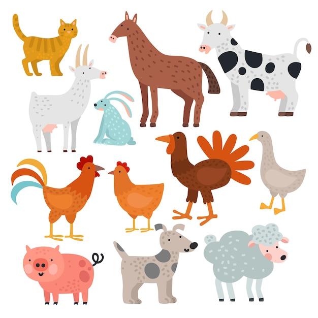 Nutztiere. kuh, pferd und kaninchen, hund und truthahn, schaf und schwein, hahn und huhn, ziege und katze, gansvektorkarikatur isoliertes set. illustration kuh und schwein, kaninchen und ziege, pferd und truthahn Premium Vektoren