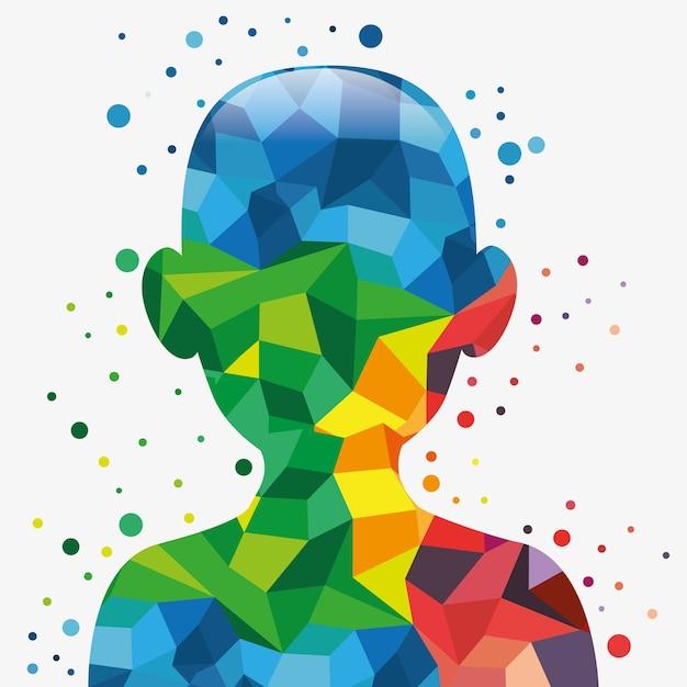 Obere silhouette des menschlichen körpers mit bunten geometrischen formen Premium Vektoren